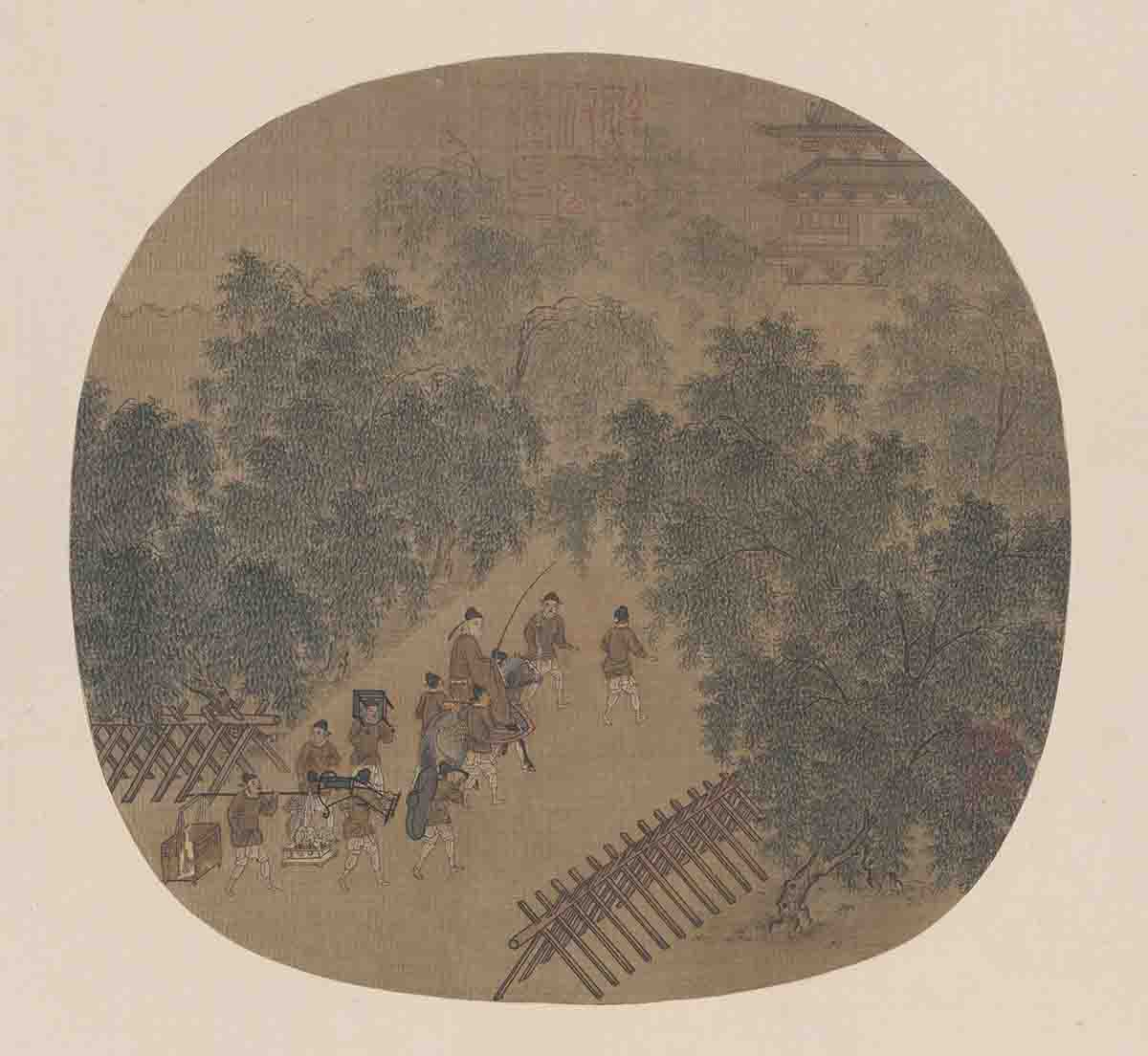 宋 佚名 春游晚归图页24.2x25.3cm